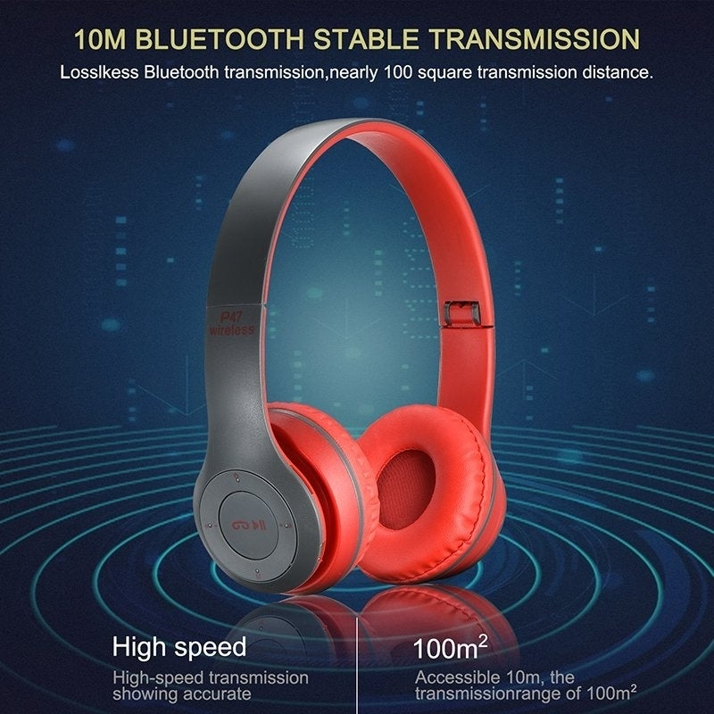 Shop P47 Bluetooth 4 2 Headphones Stereo Headset Wireless Foldable Mic Earphone Overstock 26282719