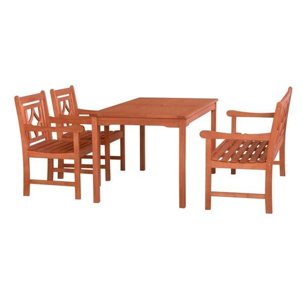Havenside Home Hydaburg Outdoor 4-piece Wood Rectangular Table Dining Set