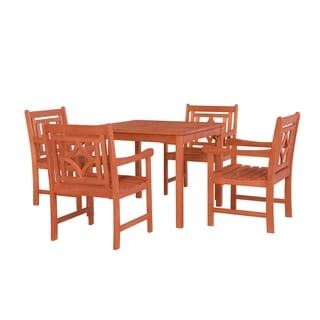 Malibu Outdoor 5-piece Wood Patio Stacking Table Dining Set