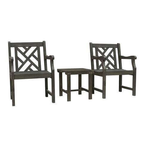 Renaissance Outdoor Patio Wood 3-Piece Conversation Set