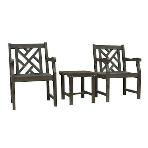 Renaissance Outdoor Patio Wood 3-Piece Conversation Set