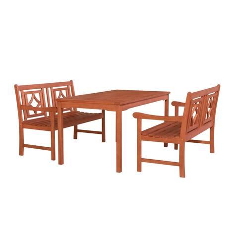 Malibu Outdoor 3-piece Wood Patio Rectangular Table Dining Set