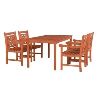 Malibu Outdoor Wood Patio Rectangular Table Dining Set