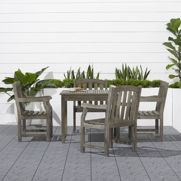 Renaissance Outdoor 5-piece Wood Patio Stacking Table Dining Set. Opens flyout.