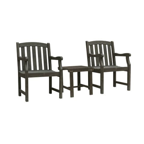 Rhododendron Outdoor Patio Wood 3-Piece Conversation Set