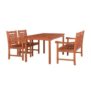 Hadley Outdoor 4-piece Wood Patio Rectangular Table Dining Set