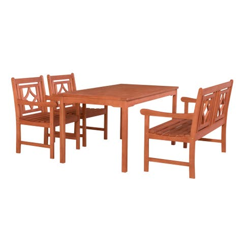 Malibu Outdoor 4-piece Wood Patio Rectangular Table Dining Set
