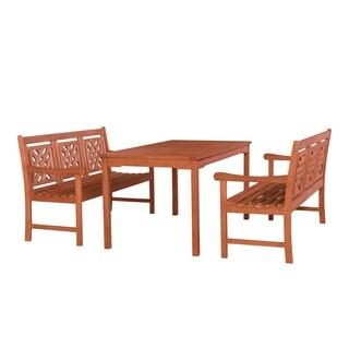 Rousham Outdoor 3-piece Wood Patio Rectangular Table Dining Set
