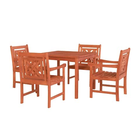 Monarda Outdoor 5-piece Wood Patio Stacking Table Dining Set