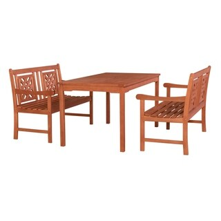 Heathcote Outdoor 3-piece Wood Patio Rectangular Table Dining Set