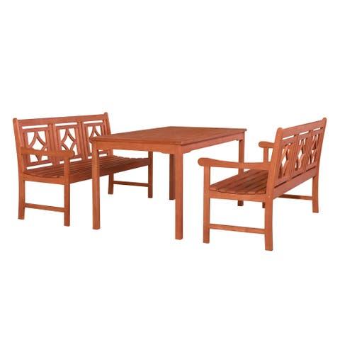 Harley Outdoor 3-piece Wood Patio Rectangular Table Dining Set