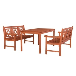 Harley Outdoor 3-piece Wood Patio Rectangular Table Dining Set