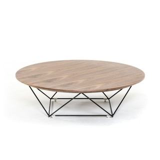Round Shaped Wooden Top Coffee Table with Unique Design Metal Base, Brown and Black