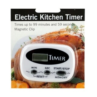 Bulk Buys Electric Kitchen Timer with Magnetic Clip and Push Button Control - 4 Pack