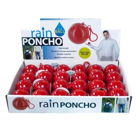 Bulk Buys Durable Plastic Rain Poncho in a Ball Countertop Display - 24 Pack