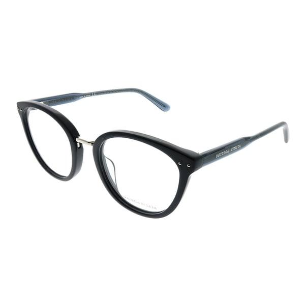 90cf7fb4345 Shop Bottega Veneta Cat-Eye BV 0195O 003 Women Blue Frame Eyeglasses ...