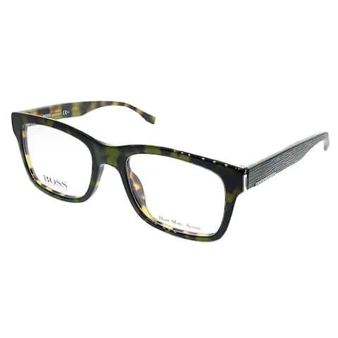Hugo Boss Rectangle BOSS 0641 HRM Unisex Green Havana Frame Eyeglasses