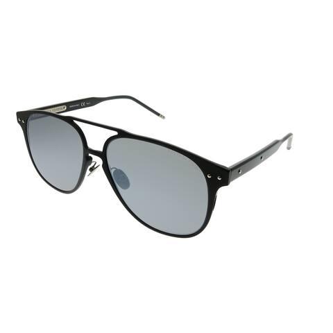 Bottega Veneta Square BV 0212S 001 Unisex Black Frame Grey Flash Lens Sunglasses