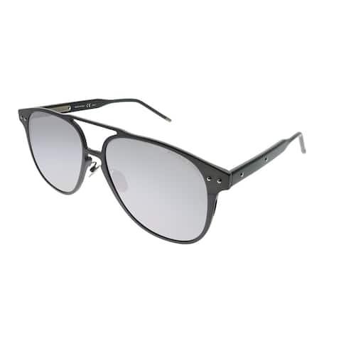 Bottega Veneta Square BV 0212S 004 Unisex Ruthenium Frame Silver Mirror Lens Sunglasses