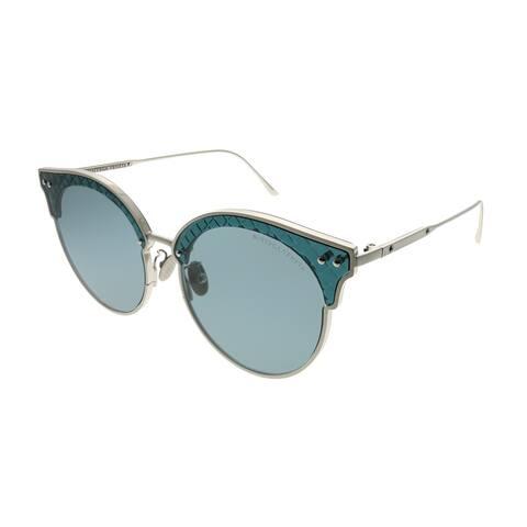 Bottega Veneta Cat-Eye BV 0210S 002 Women Silver Blue Frame Blue Lens Sunglasses