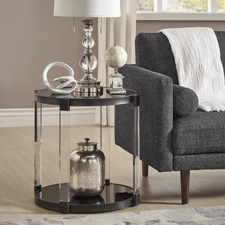 Copper Grove Viitasaari Glass-top Round Black Acrylic End Table