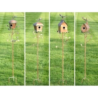 Set of 4 Assorted Style Iron Copper Finish Birdhouse Stakes