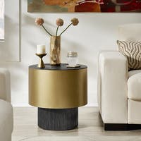 Victross Antique Gold Finish Metal Wrapped Round End Table by iNSPIRE Q Artisan