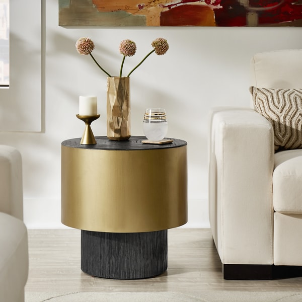 Strick & Bolton Ghada Gold-finished Metal End Table