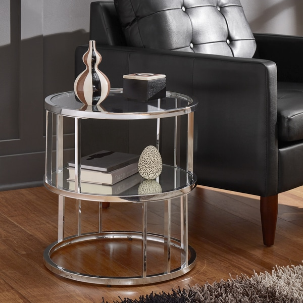 Round Coffee Table Chrome Finish: Shop Metzy Chrome Finish Metal Round End Table With