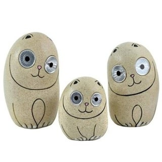 Solar Cats 3 Piece Statue Set with Light up Eyes