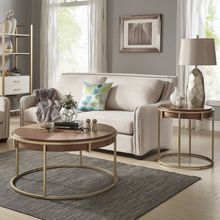 Copper Grove Valkaus Natural-finished Coffee Table or Table Set with Goldtone Metal Base