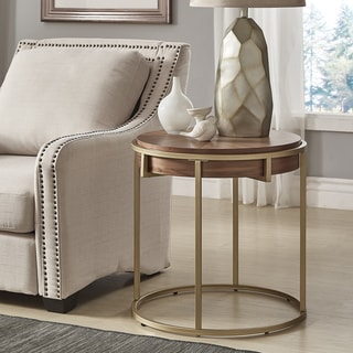 Copper Grove Varkaus Natural-finished End Table with Goldtone Metal Base