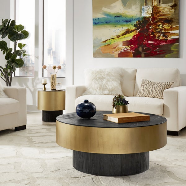 Shop Strick Bolton Ghada Gold Finished Metal Coffee Table Or 2
