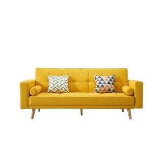 Luca Home Alex Yellow Microfiber and Wood Tufted Scandinavian-style Sofa Bed