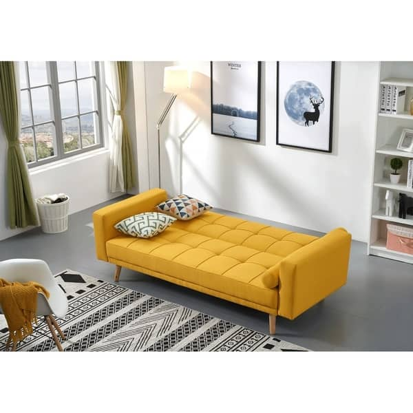 Shop Luca Home Alex Yellow Microfiber and Wood Tufted ...