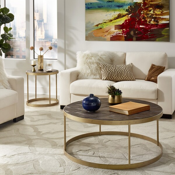 Carbon Loft Lozano Antique Gold Finish Metal Frame Reclaimed Wood Cocktail Table Set