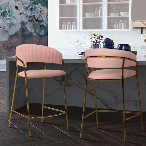 Silver Orchid Baring Goldtone Steel and Blush Vegan Leather Counter Stools (Set of 2)