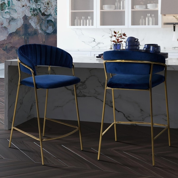 Shop Silver Orchid Arbenina Navy Velvet Gold Finish
