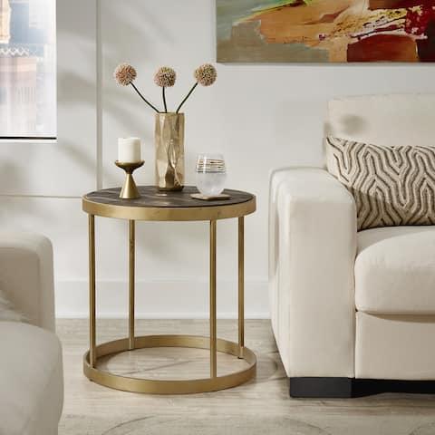 Carbon Loft Lozano Antique Gold Finish Wood End Table