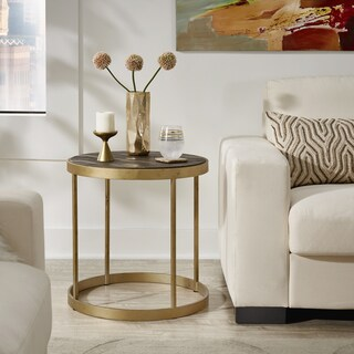 Bergstrom Antique Gold Finish Metal Frame Reclaimed Wood End Table by iNSPIRE Q Artisan