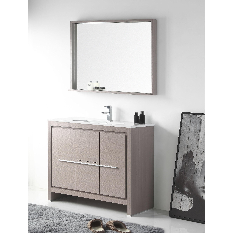 Astounding Details About 40 Viara Gray Oak Modern Bathroom Vanity Mirror Grey Single Vanities Download Free Architecture Designs Ferenbritishbridgeorg