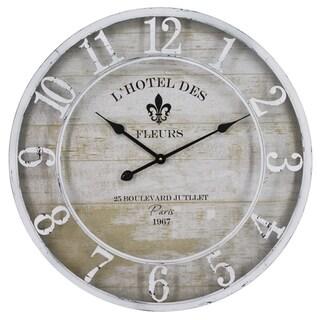 Yosemite Home Decor L'Hotel Des Fleurs White Wall Clock