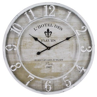 Yosemite Home Decor L'Hotel Des Fleurs White Wall Clock