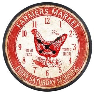 Yosemite Home Decor Farmers Market Red Wall Clock - 3 x 23.6 x 23.6