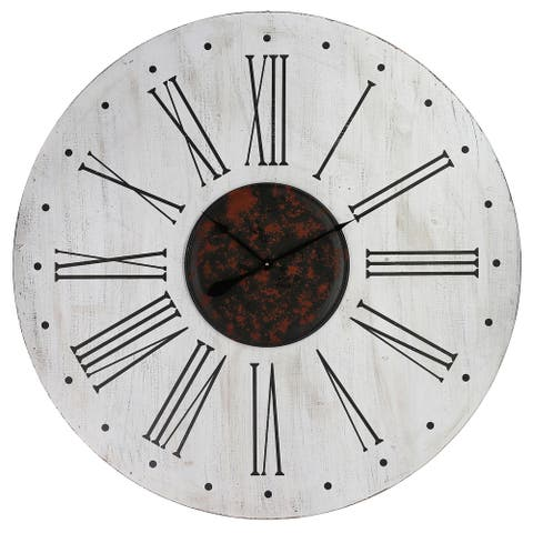 Yosemite Home Decor Nordic Style White/Black Wood/Metal Wall Clock