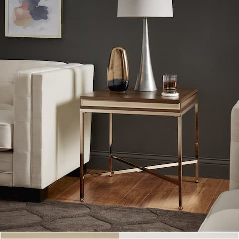 Silver Orchid Barclay Mirror Trim End Table