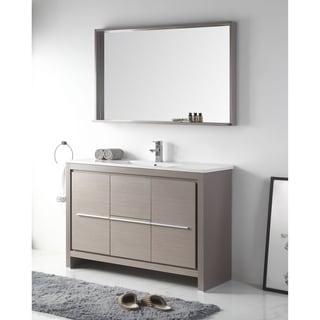 """48"""" Viara Gray Oak Contemporary Bathroom Vanity & Mirror"""