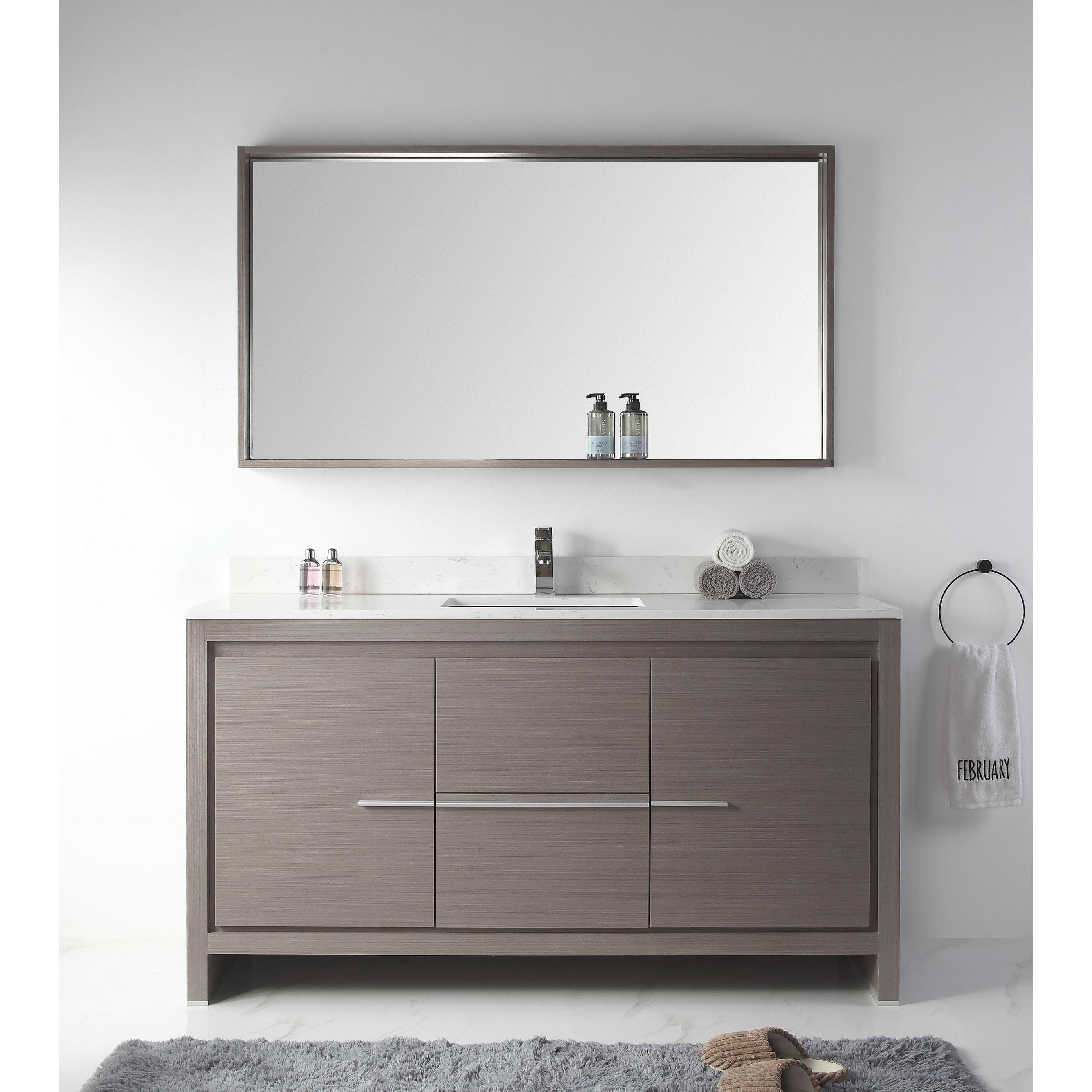 60 Viara Gray Oak Contemporary Bathroom Vanity Mirror