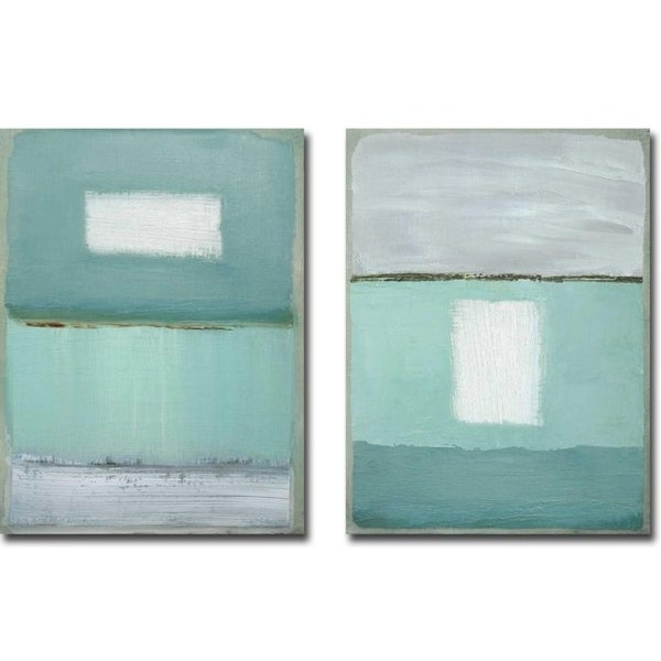 Azure Blue I & II by Caroline Gold 2-piece Gallery Wrapped Canvas Giclee Art Set (Ready to Hang)