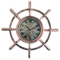 Yosemite Home Decor Ship's Wheel Brass/Copper Metal/Glass Wall Clock